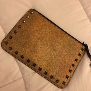 Rebecca Minkoff gold metallic clutch